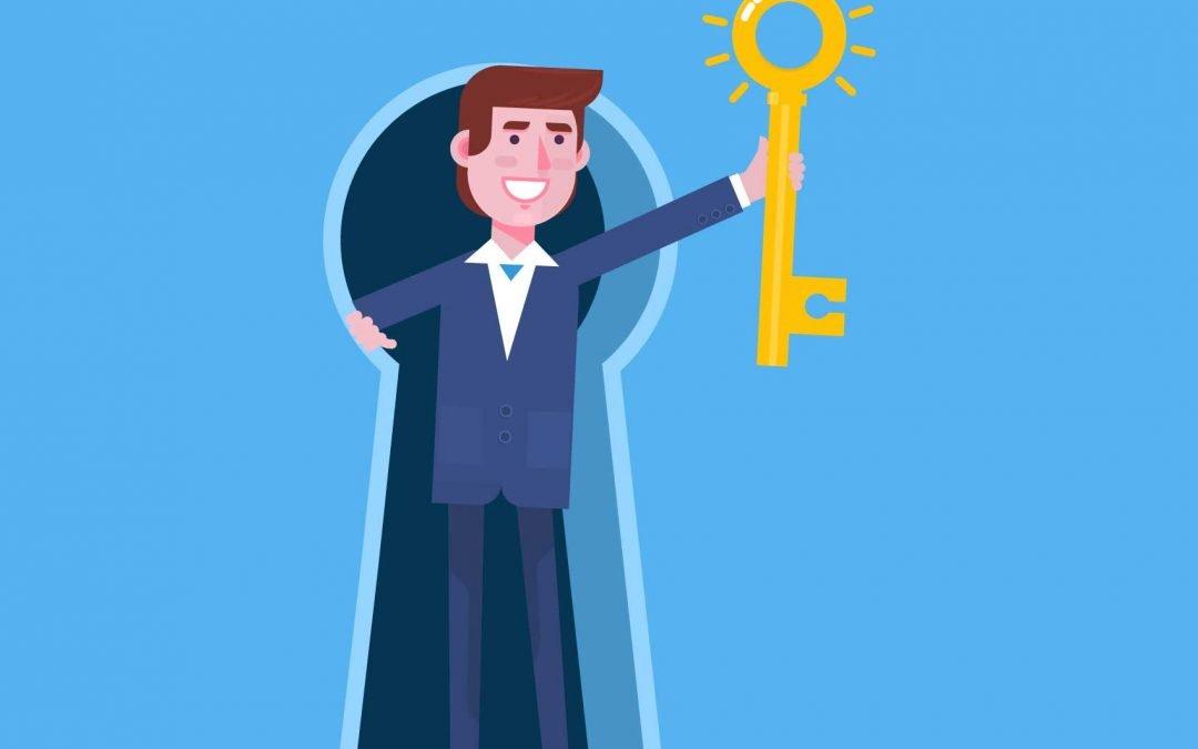 Man cartoon holding a key